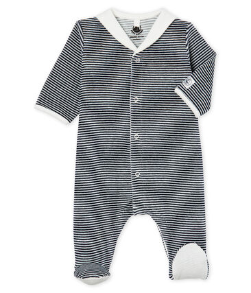 Pelele de terciopelo para bebé niño azul Smoking / blanco Marshmallow