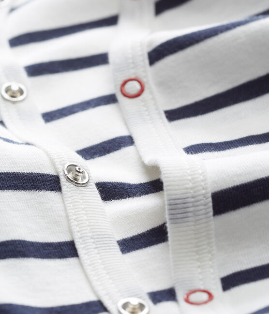 Pelele de punto acanalado a rayas para bebé blanco Marshmallow / azul Smoking