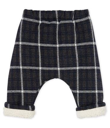 Pantalón de cuadros con forro de sherpa para bebé niño negro City / blanco Multico