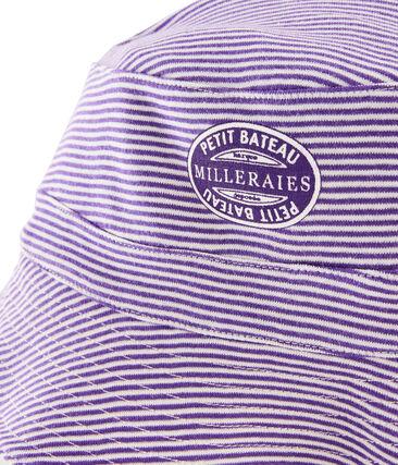 Sombrero bob reversible de canalé mujer blanco Marshmallow / violeta Real