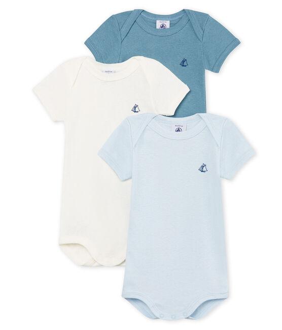 Tres bodis manga corta de algodón y lino para bebé niño lote .