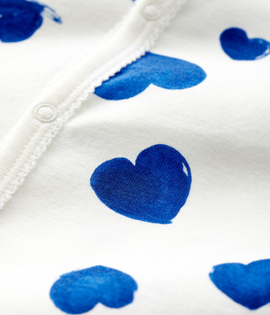 Pelele sin pies de punto acanalado con corazones azules para bebé niña blanco Marshmallow / blanco Multico