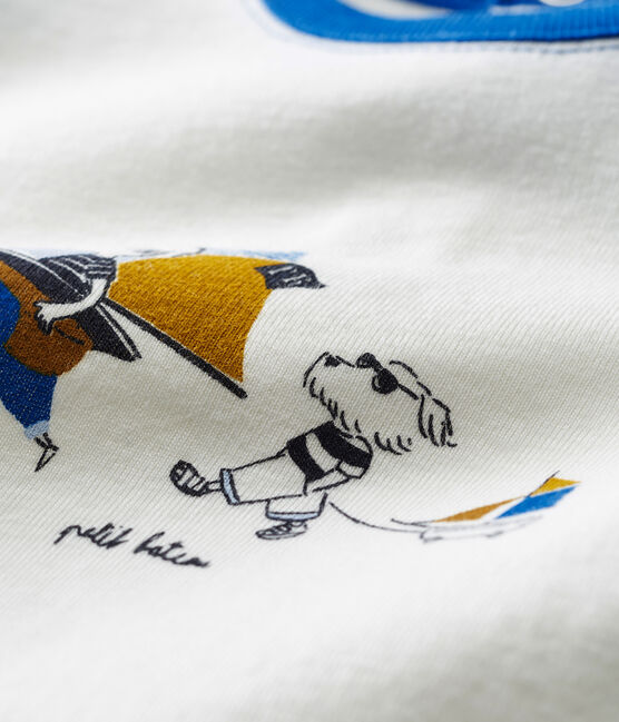 Camiseta manga corta con motivos para bebé niño blanco Marshmallow / azul Toudou