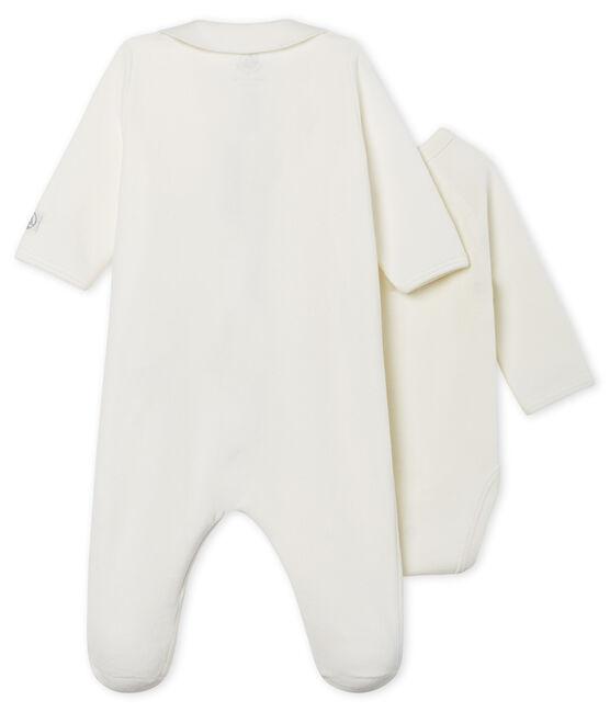 Pijama de terciopelo con cremallera para bebé blanco Marshmallow