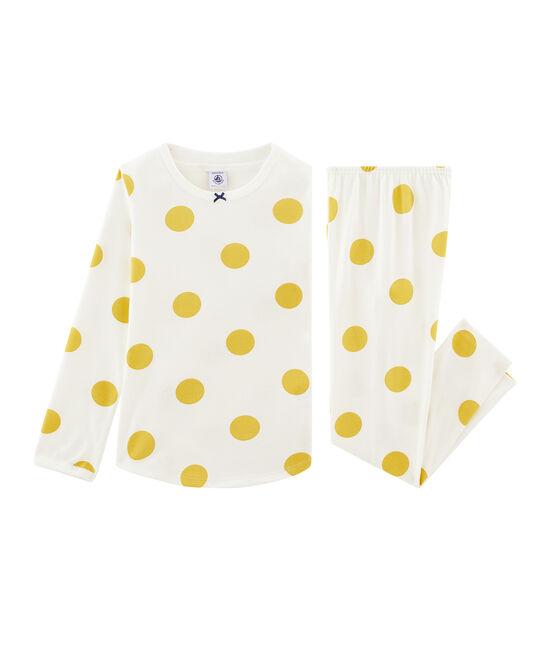 Pijama de punto para niña blanco Marshmallow / amarillo Ble