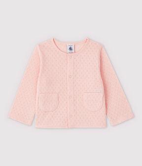 Rebeca de canalé de bebé niña rosa Minois / blanco Ecume