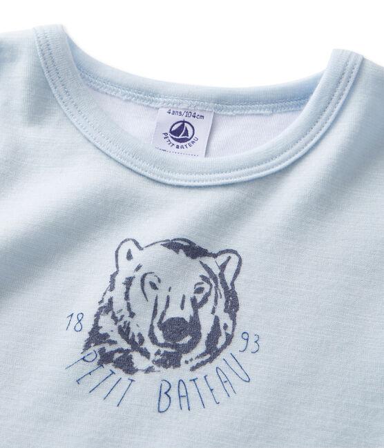 Camiseta de lana y algodón para niño azul Fraicheur
