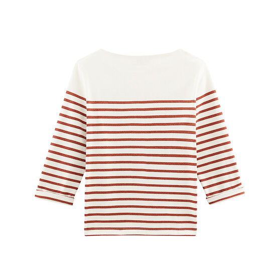 Jersey marinero manga larga para mujer blanco Marshmallow / rosa Copper