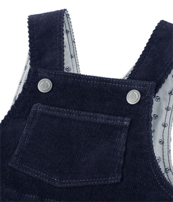 Peto de pana para bebé niño azul Smoking