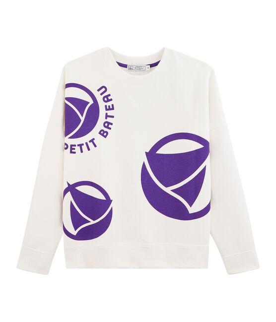 Sudadera con logotipo para mujer blanco Marshmallow / violeta Real