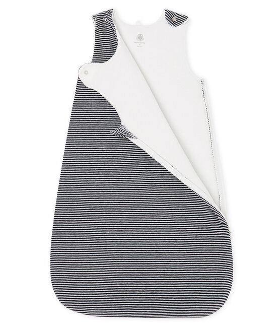 Saco de terciopelo para bebé azul Smoking / blanco Marshmallow