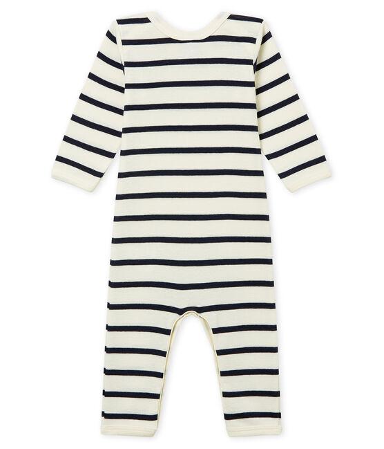 Body unisex de bebé largo en punto beige Coquille / azul Smoking