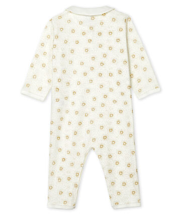 Pijama sin pies de punto para bebé de niña blanco Marshmallow / amarillo Or