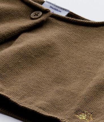 Bolero de bebé niña de punto marrón Shitake