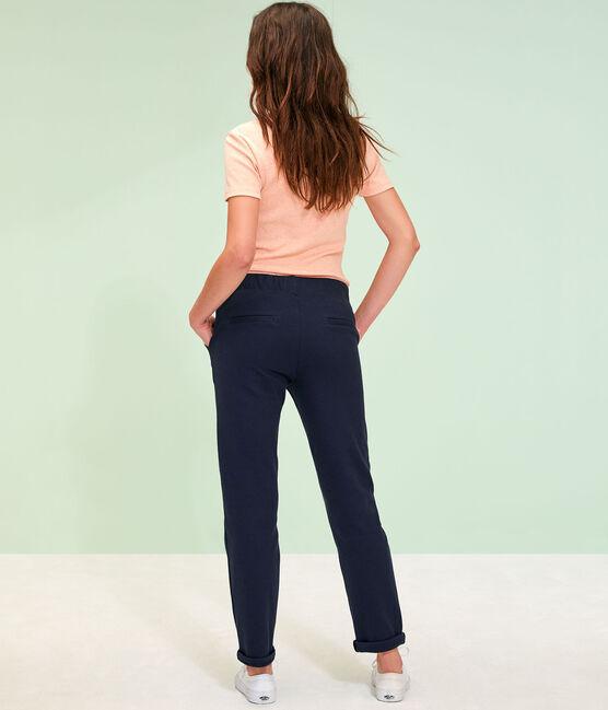 Pantalón de punto de mujer azul Smoking