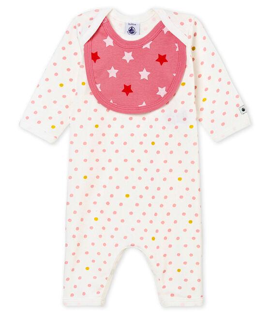 Pelele sin pies y babero para bebé niña blanco Marshmallow / blanco Multico