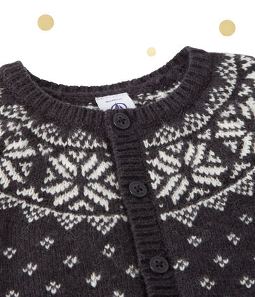 Cardigan de jacquard de bebé niño en lana