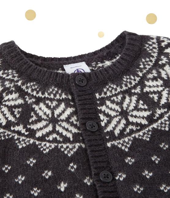 Cardigan de jacquard de bebé niño en lana gris Capecod / blanco Multico