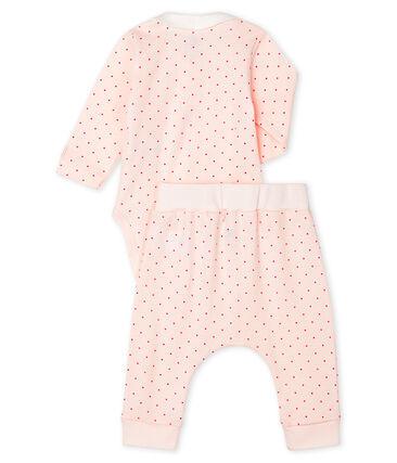 Conjunto de dos piezas para bebé niña de punto rosa Fleur / rosa Geisha