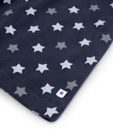 Pijama de estrellas para niño de canalé azul Smoking / blanco Multico