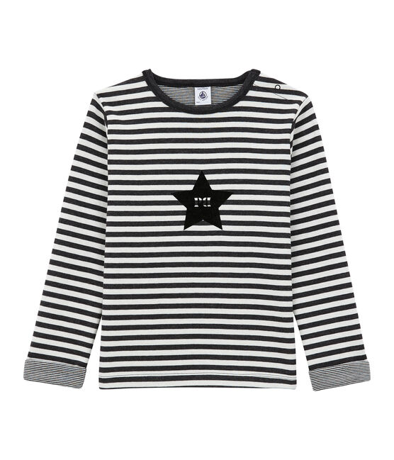 Camiseta de manga larga en jersey doble negro City / blanco Marshmallow