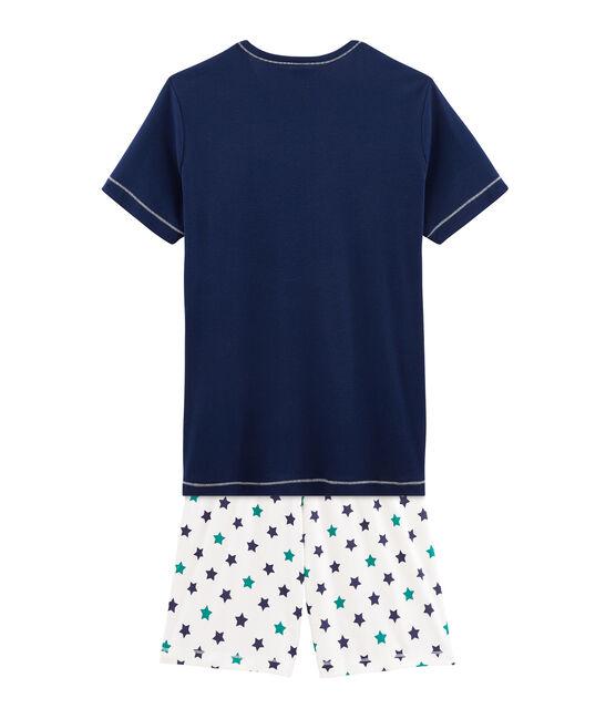 Pijama corto de punto para chico azul Medieval / blanco Multico