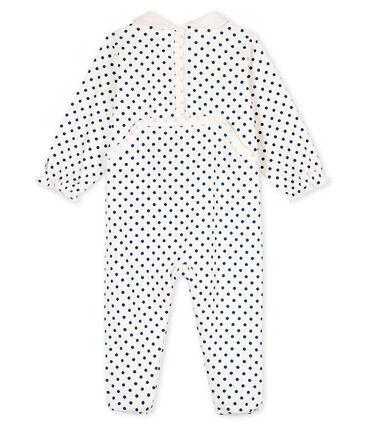 Pijama de punto para bebé niña blanco Marshmallow / azul Contes