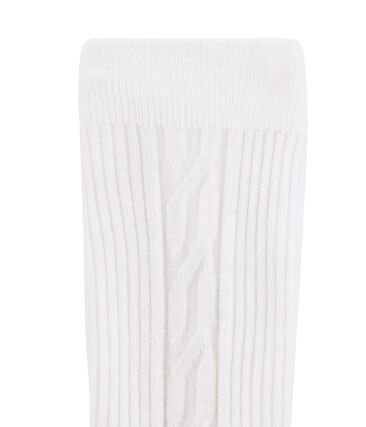 Pantis cálidos infantiles para niña blanco Marshmallow