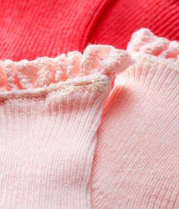 Lote de 2 pares de calcetines con encaje para bebé niña rosa Groseiller