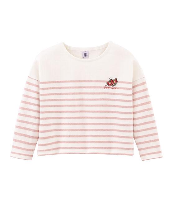 Jersey marinero infantil para niña blanco Marshmallow / rosa Joli Brillant