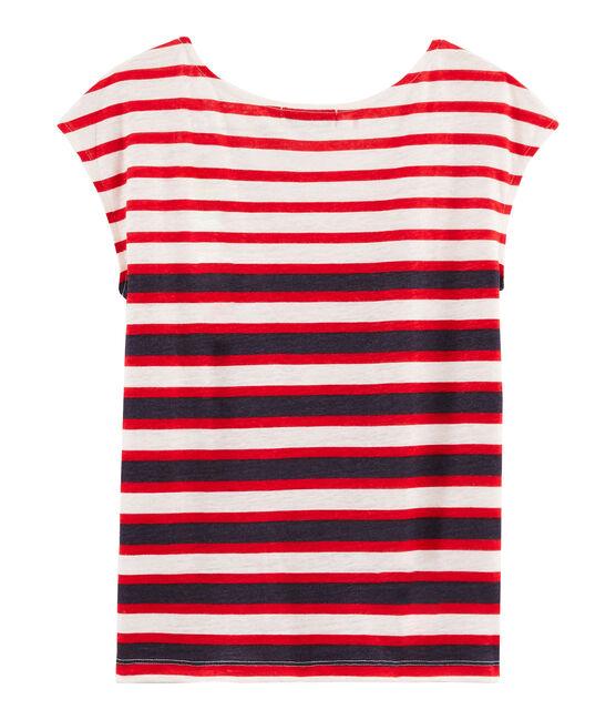 Camiseta de lino para mujer blanco Marshmallow / rojo Peps