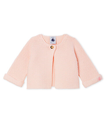 Cárdigan para bebé de punto 100 % algodón rosa Fleur