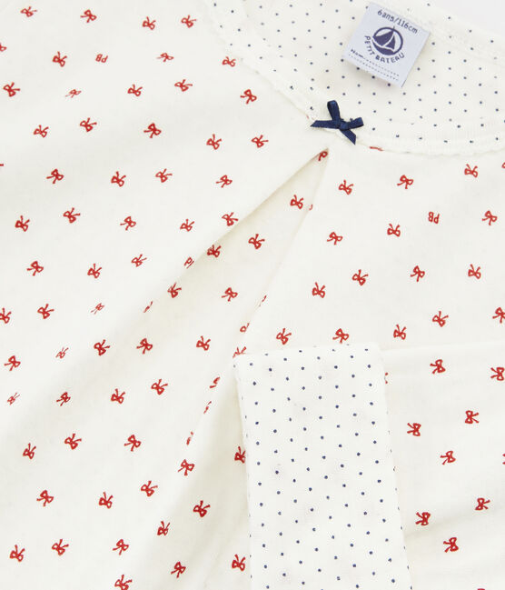 Pijama de tela túbica para niña blanco Marshmallow / rojo Terkuit