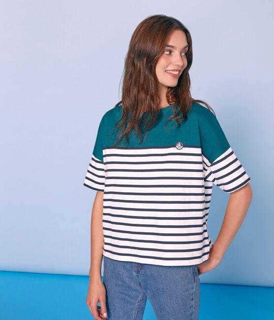 Jersey marinero manga corta para mujer verde Pinede / blanco Marshmallow