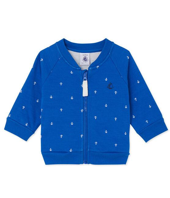 Cardigan bébé garçon en tubique azul Delft / blanco Lait