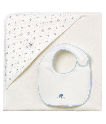 Toalla cuadrada de baño y babero para bebé niño.