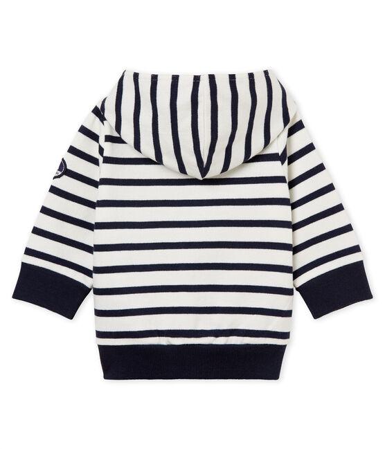 Sudadera con capucha de rayas marineras para bebé niño blanco Marshmallow / azul Smoking