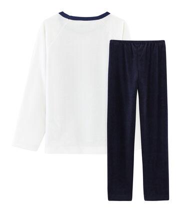 Pijama de terciopelo para niño pequeño azul Smoking / blanco Multico
