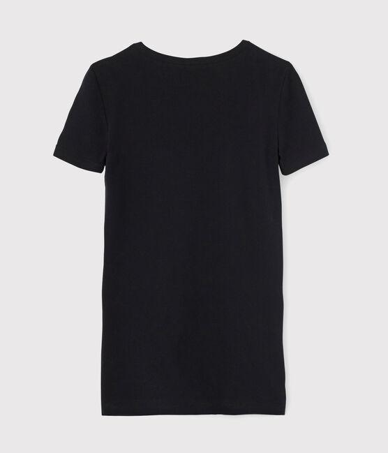 Camiseta icónica con cuello de pico para mujer negro Noir