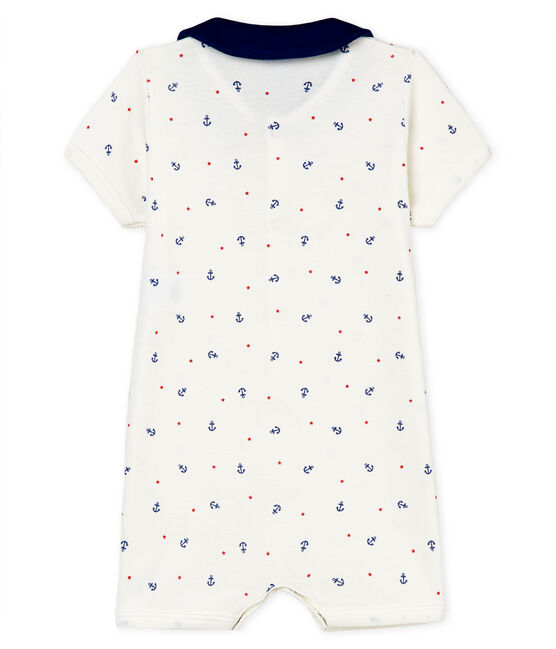 Mono corto de punto para bebé niño blanco Marshmallow / blanco Multico