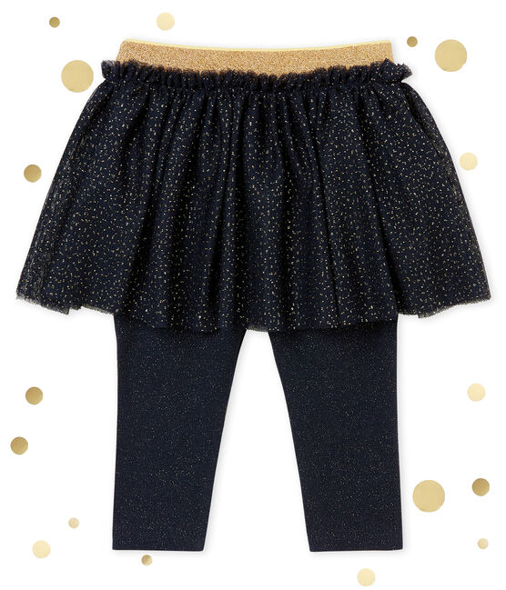 Falda legging para bebá niña azul Smoking / amarillo Dore