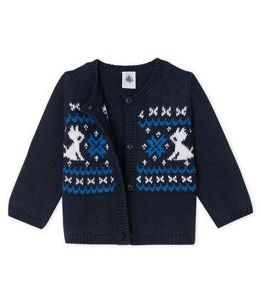Cárdigan para bebé niño de lana y algodón azul Smoking / blanco Multico