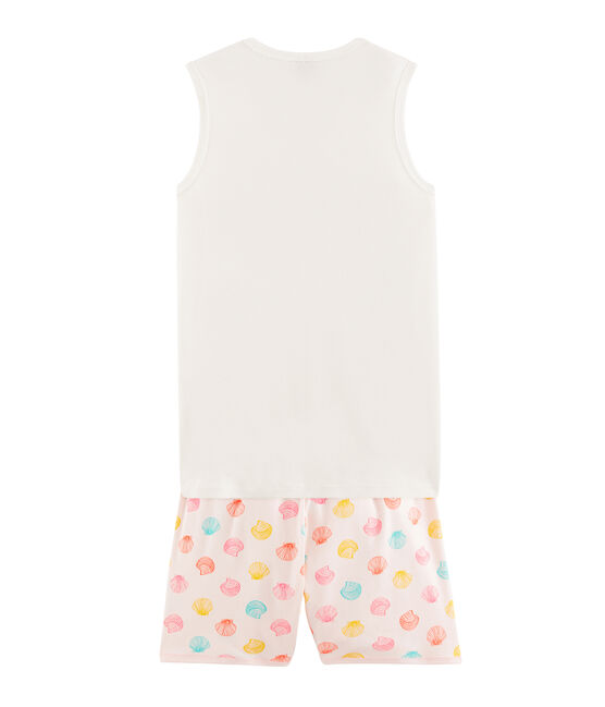 Pijama corto de punto para chica rosa Fleur / blanco Multico