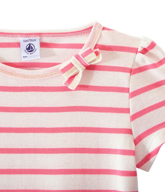 Camiseta chica a rayas marineras/ Camiseta chica de rayas marineras blanco Marshmallow / rosa Petal