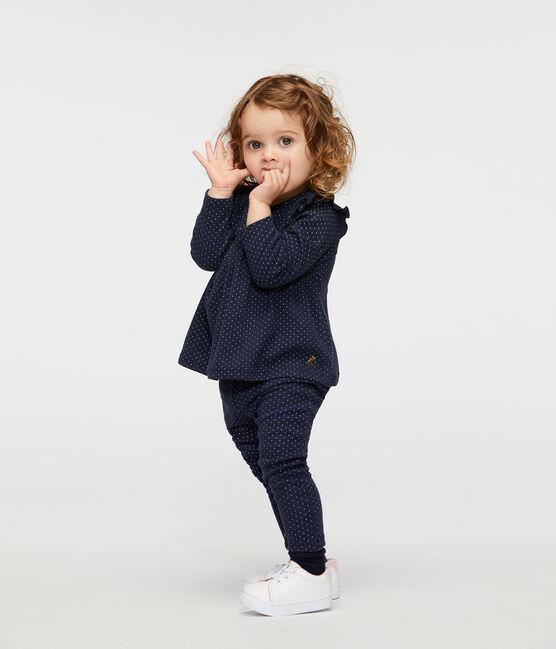 Leggings estampados con volantes para bebé niña azul Smoking / blanco Marshmallow