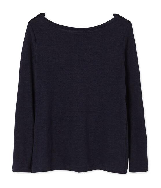 Camiseta manga larga de lino para mujer azul Smoking