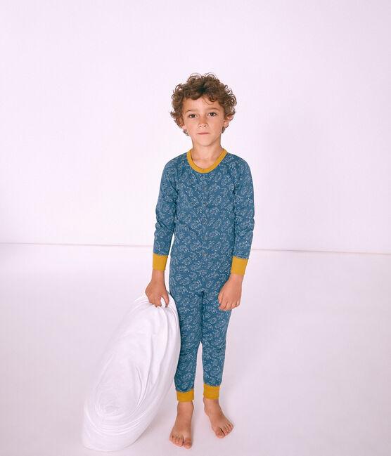 Mono largo infantil de algodón para niño azul Shadow / blanco Marshmallow
