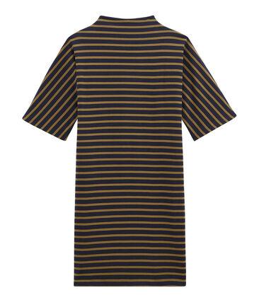 Vestido para mujer a rayas de manga corta en jersey grueso