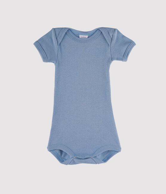 Bodi manga corta para bebé niño azul Acier