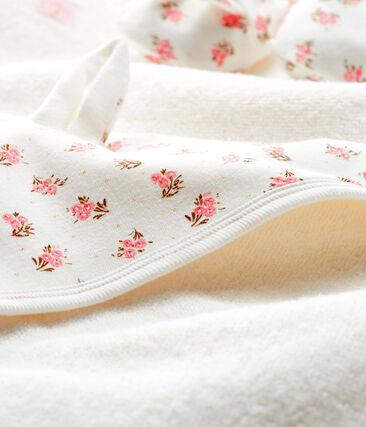 Estuche con toalla cuadrada de baño y patucos para bebé de BE y punto. blanco Marshmallow / rosa Gretel